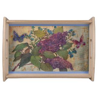 Üppige Flieder u. Schmetterlinge Tablett
