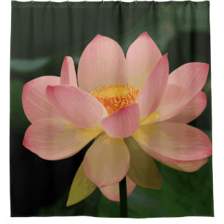 Üppige grüne tropische Zen-Garten-Rosa-Lotos-Blume Duschvorhang