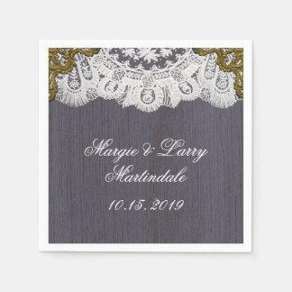 Üppige Spitze und Vintager Lavendel Papierserviette