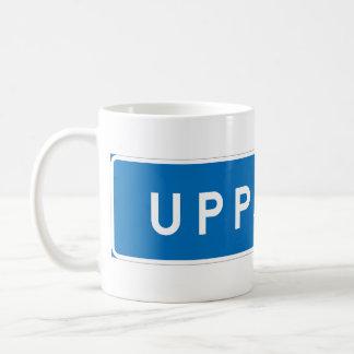 Uppsala, schwedisches Verkehrsschild Kaffeetasse