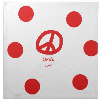 Urdu-Sprache und Friedenssymbol-Entwurf Stoffserviette