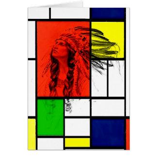 Ureinwohner-Leiter mit Buntglas-Fenster Karte