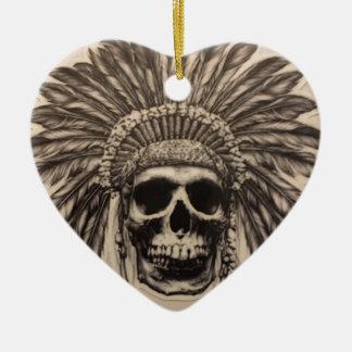 Ureinwohner-Schädel-Leiter (indisch) Keramik Ornament
