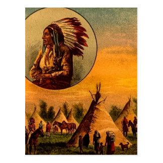 Ureinwohner-Vintages magische Laternen-Dia Postkarte