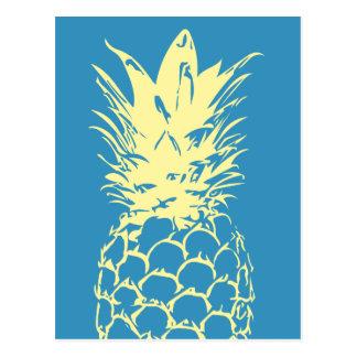 Ursprüngliche gelbe Ananas-blauer Entwurf Postkarte
