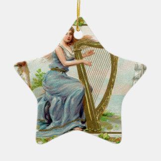 Ursprüngliche Heiligen Patrick Tagesharfe u. -dame Keramik Ornament
