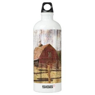 Ursprüngliche hölzerne Western-Landbauernhof Aluminiumwasserflasche