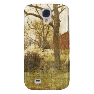 Ursprüngliche Land-Baumfarm-rote Kabine im Holz Galaxy S4 Hülle
