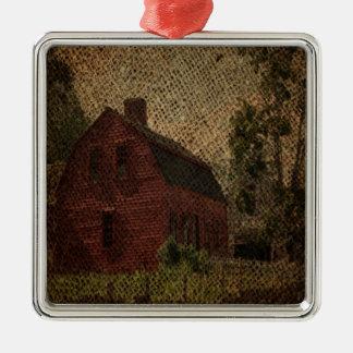 Ursprüngliche Leinwandlandbauernhaus-Rotscheune Silbernes Ornament