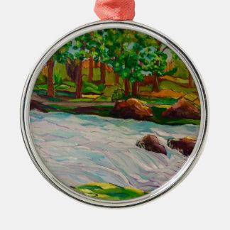 ursprüngliche Ölgemälde-Landschaft Silbernes Ornament