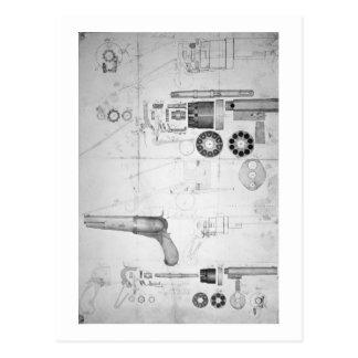 Ursprüngliche Pläne für einen Zehnkammer Revolver Postkarte