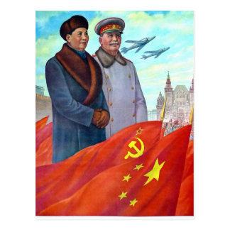 Ursprüngliche Propaganda Mao Zedong und Josef Postkarte