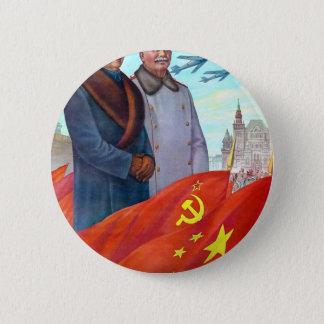 Ursprüngliche Propaganda Mao Zedong und Josef Runder Button 5,7 Cm