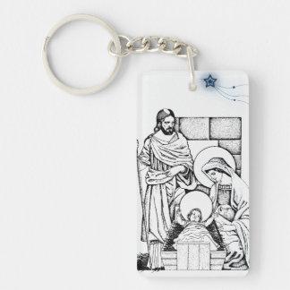 Ursprüngliche Schwarzweiss-Geburt Christi Beidseitiger Rechteckiger Acryl Schlüsselanhänger