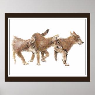 Ursprüngliche Wolf-Welpen des Aquarell-drei Poster