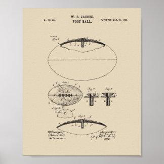 Ursprünglicher amerikanischer Fußball-Patent-Druck Poster
