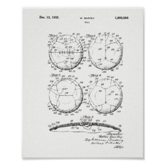 Ursprünglicher Europäer Fotball Patent-Druck - Poster