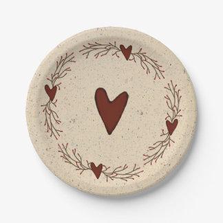 Ursprünglicher Herz-Pappteller Pappteller