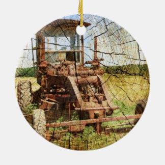 Ursprünglicher hölzerner Korn-Land-Bautraktor Keramik Ornament