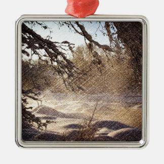 Ursprünglicher Kiefer-Waldwinter-Wald Silbernes Ornament