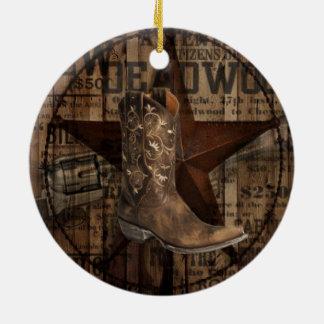 Ursprünglicher Sterngrunge-Western-Land-Cowboy Keramik Ornament