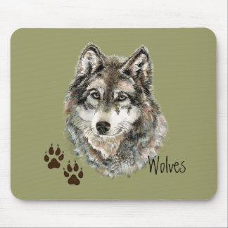 Ursprüngliches Aquarell-grauer Wolf spürt Tier auf Mauspad