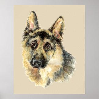 Ursprüngliches Aquarell-Schäferhund-Hundehaustier Poster