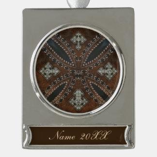 Ursprüngliches Cowboy-Western Land bearbeitetes Banner-Ornament Silber