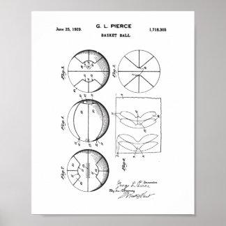 Ursprüngliches Korb-Ball-Patent, Vintages Poster
