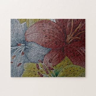 ursprüngliches Kunstbild der bunten Lilie Puzzle