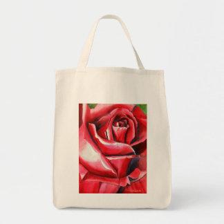 Ursprüngliches Kunstmakro hochroten Rote Rose Tragetasche