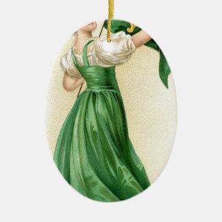 Ursprüngliches Plakat von Flaggen-Dame St. Ovales Keramik Ornament