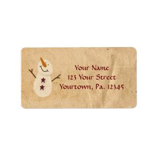 Ursprüngliches Schneemann-Adressen-Etikett Adressetikett