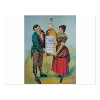Ursprüngliches Vintages irisches Whiskyplakat, Postkarte