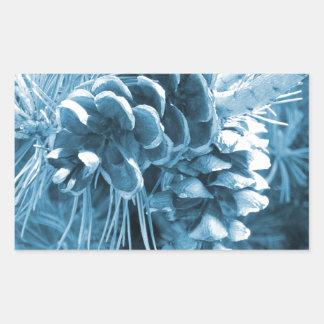 Ursprüngliches WeihnachtsKiefer-Eisblau pinecone Rechteckiger Aufkleber