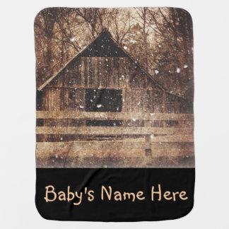 Ursprüngliches Winter-Schnee-Land-ländliche alte Babydecke