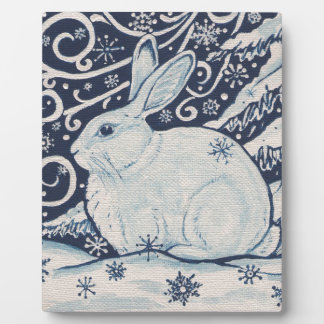 Ursprüngliches Winter-Weihnachtskaninchen-Blau u. Fotoplatte