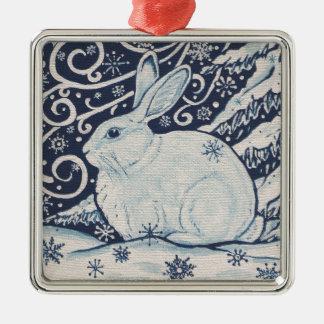 Ursprüngliches Winter-Weihnachtskaninchen-Blau u. Silbernes Ornament