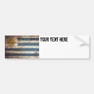 Uruguay-Flagge auf altem hölzernem Korn Autoaufkleber