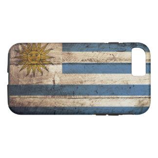 Uruguay-Flagge auf altem hölzernem Korn iPhone 8/7 Hülle