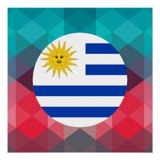 Uruguay-Flaggenkreis auf modernem bokeh Poster