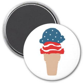 US Flagge-Eiscreme-Kegel Runder Magnet 7,6 Cm