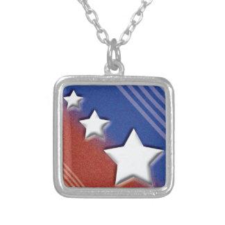 US Flagge Halskette Mit Quadratischem Anhänger