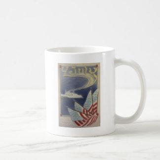 US-Flaggen-Boots-Ozean Juli 4. Kaffeetasse
