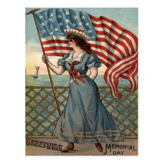 US-Flaggen-Dame Liberty Ocean Sailboat Postkarte