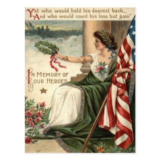 US-Flaggen-Dame Liberty Rose Soldiers Postkarte