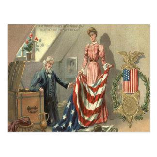 US-Flaggen-Gewerkschafts-ziviler Postkarte