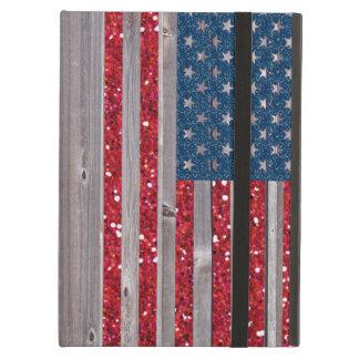 US-Flaggen-roter blauer Glitzer-Vintage hölzerne
