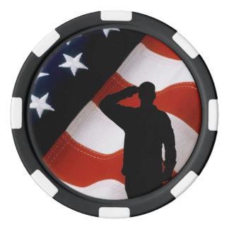 US-FLAGGEN-SOLDAT-SILHOUETTE POKER CHIP SET