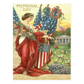 US-Flaggewreath-Dame Liberty Cemetery Postkarte